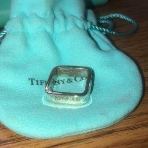 Tiffany & Co. square silver ring Sz 8
